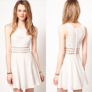 Free people white lace cut out dress